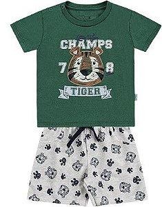 Conjunto Bebê Menino Camiseta Bermuda Moletom Tigre Verde Kiko e Kika