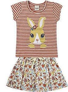 Conjunto Infantil Menina Camiseta Shorts Saia Coelhinho Rosa Kiko e Kika