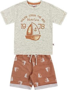 Conjunto Infantil Menino Camiseta Bermuda Moletom Sailling Cinza Kiko e Kika