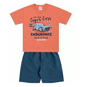 Conjunto Infantil Menino Camiseta Bermuda Tactel Cars Laranja Kiko e Kika