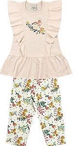 Conjunto Infantil Menina Vestido Calça Passarinho Rosa Kiko e Kika
