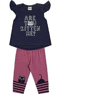 Conjunto Infantil Menina Camiseta Calça Kitten Marinho Kiko e Kika