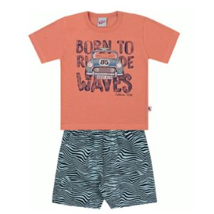 Conjunto Menino Infantil Camiseta Bermuda Tactel Waves Laranja Kiko e Kika