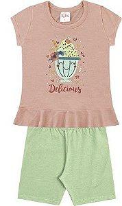 Conjunto Menina Infantil Camiseta Bermuda Sundae Verde Kiko e Kika