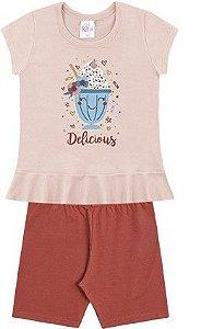 Conjunto Infantil Menina Camiseta Bermuda Sundae Vermelho Kiko e Kika