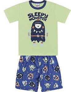 Pijama Infantil Menino Camiseta Shorts Sleepy Monster Verde Kiko e Kika