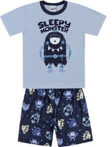 Pijama Infantil Brilha no Escuro Camiseta Shorts Sleepy Monster Azul Kiko e Kika