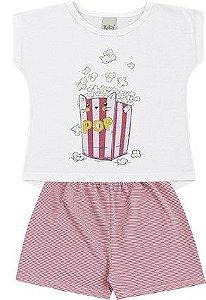 Pijama Infantil Menina CatPop Algodão Rosa Kiko e Kika