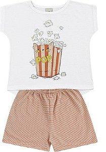 Pijama Infantil Menina CatPop Algodão Coral Kiko e Kika