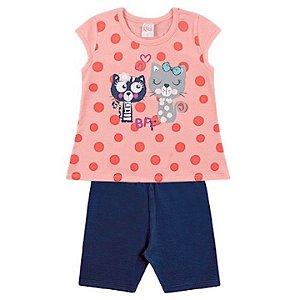 Conjunto Infantil Menina Camiseta Bermuda Gatinha Marinho Kiko e Kika