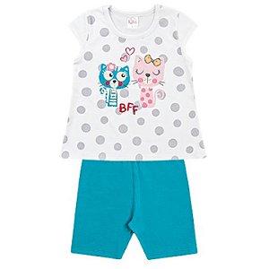 Conjunto Infantil Menina Camiseta Bermuda Gatinha Turquesa Kiko e Kika