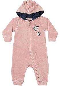 Macacão Bebê Manga Longa Veludo Plush Rosa Kiko Baby