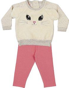Moletom Conjunto Bebê Menina Peluciado Calça Legging Orelhinhas Bege Kiko Baby