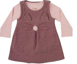 Vestido Infantil Bebê Kiko e Kika Gatinha Tweed Rosa
