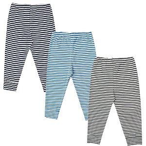 Calça Bebê Mijão Kit 3 Peças Azul Cinza Algodão Kiko Baby