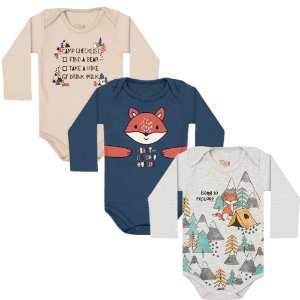 Kit Body Manga Longa Bebê Unissex Floresta Algodão 3 peças Kiko Baby