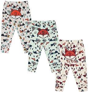 Calça Bebê Mijão Kit 3 Peças Raposinha FLoresta Algodão Kiko Baby