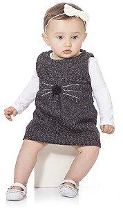 Vestido Infantil Bebê Kiko e Kika Gatinha Tweed Preto