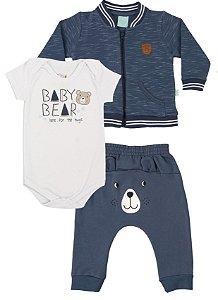 Conjunto Moletom Bebê Body Calça Moletom Casaco Infantil Urso Azul Kiko Baby