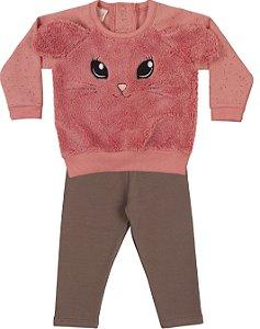 Moletom Conjunto Bebê Menina Peluciado Calça Legging Orelhinhas Pink Kiko Baby