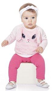 Moletom Conjunto Bebê Menina Peluciado Calça Legging Orelhinhas Rosa Kiko Baby