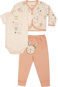 Kit Body Bebê 3 Peças Manga Curta Casaco e Mijão Circo Coral Kiko Baby
