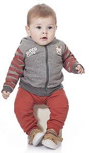 Conjunto de Moletom Bebê Menino Peluciado Calça e Casaco Cinza Kiko Baby