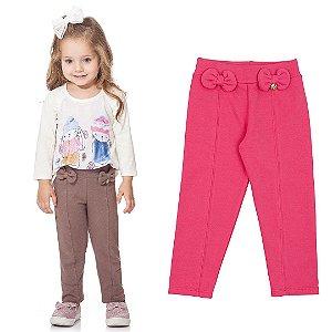 Calça Infantil Menina Legging Molecotton Lacinho Pink Kiko e Kika