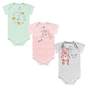 Kit Body Bebê Menina Manga Curta Tigrinha Tricolor Kiko Baby