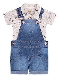 Jardineira Infantil Jeans Conjunto Camiseta Polo Doces Momentos