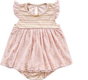 Vestido Bebê Body Romper Menina Shine Rosa Kiko Baby