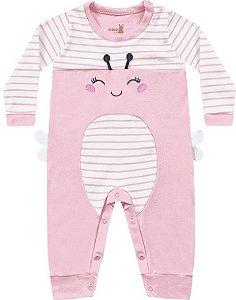 Macacão Bebê Longo Suedine Abelhinha Rosinha Kiko Baby