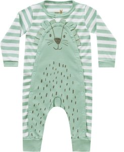 Macacão Bebê Longo Leãozinho Verde Kiko Baby