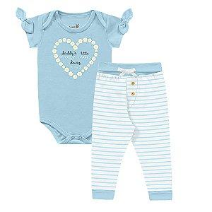 Kit Body Bebê Manga Curta Calça Listras Suedine Abelhinha Azul Kiko Baby