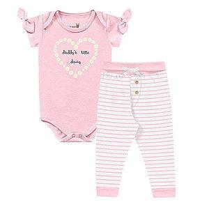 Kit Body Bebê Manga Curta Calça Listras Suedine Abelhinha Rosa Kiko Baby