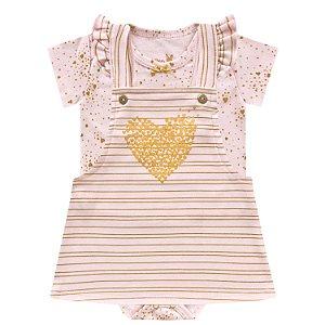 Kit Body Bebê Vestido Salopete Shine Rosa 2 Peças Kiko Baby