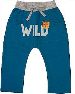 Calça Moletom Infantil Menino Peluciada Wild Kiko e Kika