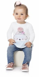 Camiseta Bebê Menina Manga Longa Ursinho Pompom Kiko e Kika