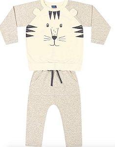 Conjunto Moletom Infantil Menino Tiger Cinza Kiko e Kika