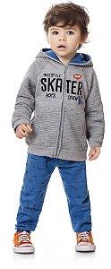 Conjunto Infantil Menino Moletom Touca Skater Kiko e Kika