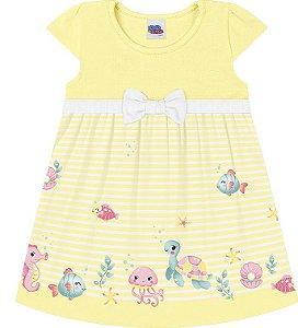 Vestido Bebê Manga Curta Peixinhos Amarelo Kiko e Kika