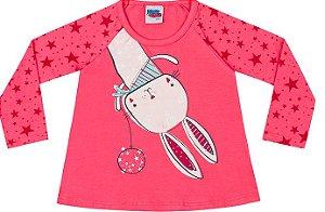 Camiseta Manga Longa Infantil Menina Coelho Stars Kiko Kika