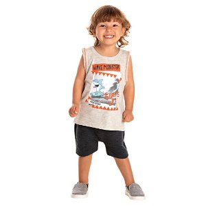 Camiseta Regata Infantil Tubarão Cinza Mescla Kiko e Kika