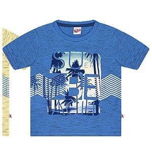 Camiseta Infantil Manga Curta Summer Beach Azul Kiko e Kika