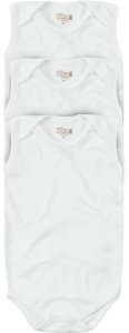 Kit Body Bebê Regata Liso Suedine Unissex Branco Kiko Baby