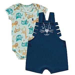 Jardineira Bebê Body Leãozinho Azul Kiko Baby