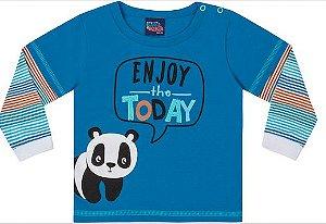 Camiseta Bebê Manga Longa Panda Kiko e Kika