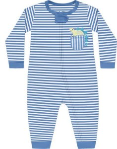 Macacão Bebê Longo Dino Listas Azul Celeste Kiko Baby