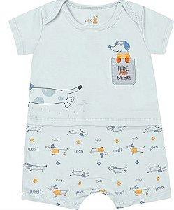 Macaquinho Romper Bebê Salsicha Azul Kiko Baby