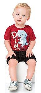 Camiseta Bebê Manga Curta Baby Dino Vermelha Kiko e Kika